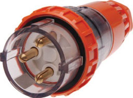 Single Phase 3 Round Pin Straight Plug